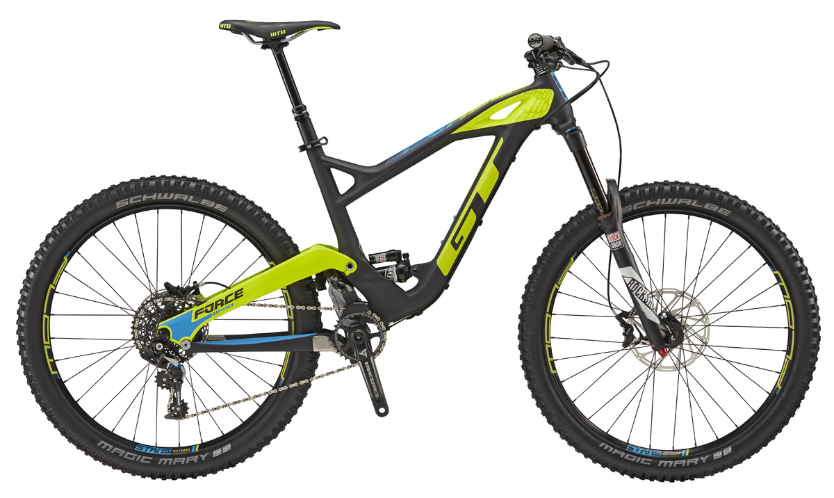 "GT FORCE 27,5"" CARBON PRO SRAM, RAW BLACK/NEON YELLOW XS 2017"